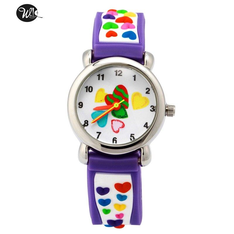 Children's watch 3D cartoon careful heart pattern quartz watch Boy girl learning time pointer green waterproof watch