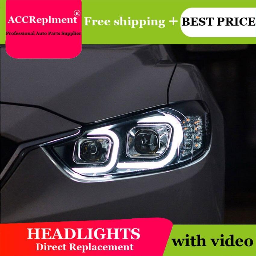 Style de voiture pour ATENZA phares U angel eyes 2014 pour ATENZA lumière LED bar Q5 bi xenon lentille h7 xénon projecteur LED ampoule