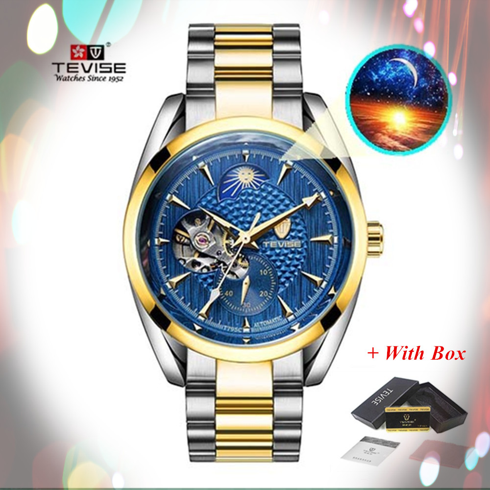 цена New Style TEVISE Brand Luxury Men Waterproof Business Watch Men's Automatic Mechanical Watches Tourbillon Men Moon Phase Watches онлайн в 2017 году