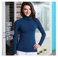 Nueva Moda de Alta Calidad Otoño Invierno Montones Suéteres de Manga Larga Mujer Suéter de Cuello Alto Elástico Más El Tamaño de Ropa de Las Muchachas 952
