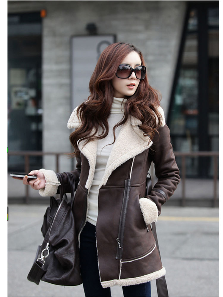 New suede   coat   thick winter   coat