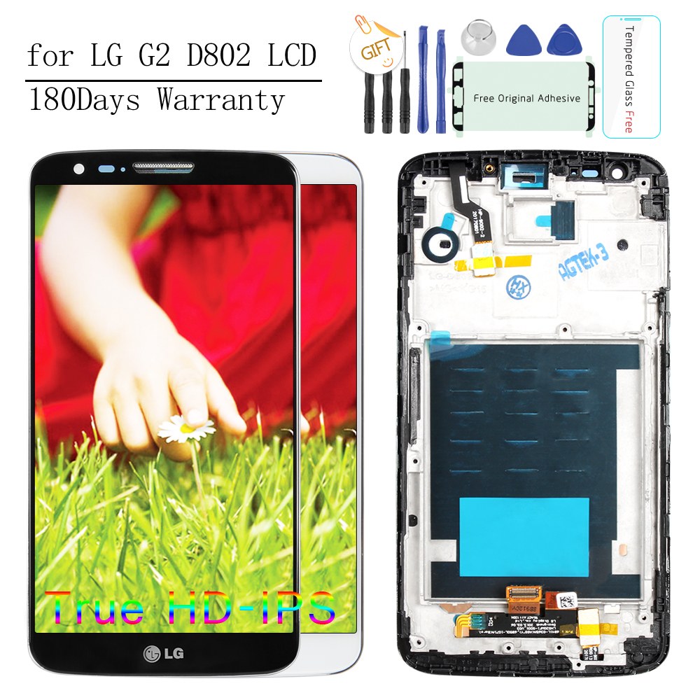 No Dead Pixels 5.2 IPS Screen For LG G2 LCD Display D802 D800 LCD D801 D805 D803 Touch Screen Digitizer Replacement