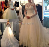 2014 High Neck Lace Long Sleeves Beaded Ball Gown Elegant Princess Wedding Dress Applique Backless Tulle