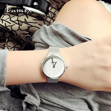 цена на 2019 Ladies gift  Rounded case watch Enmex simple design  steel steel brief face silver plating quartz fashion wristwatch