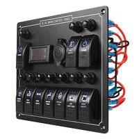12 24V 10 Gang Boat Marine Blue LED Rocker Switch Panel Circuit Breaker Voltmeter