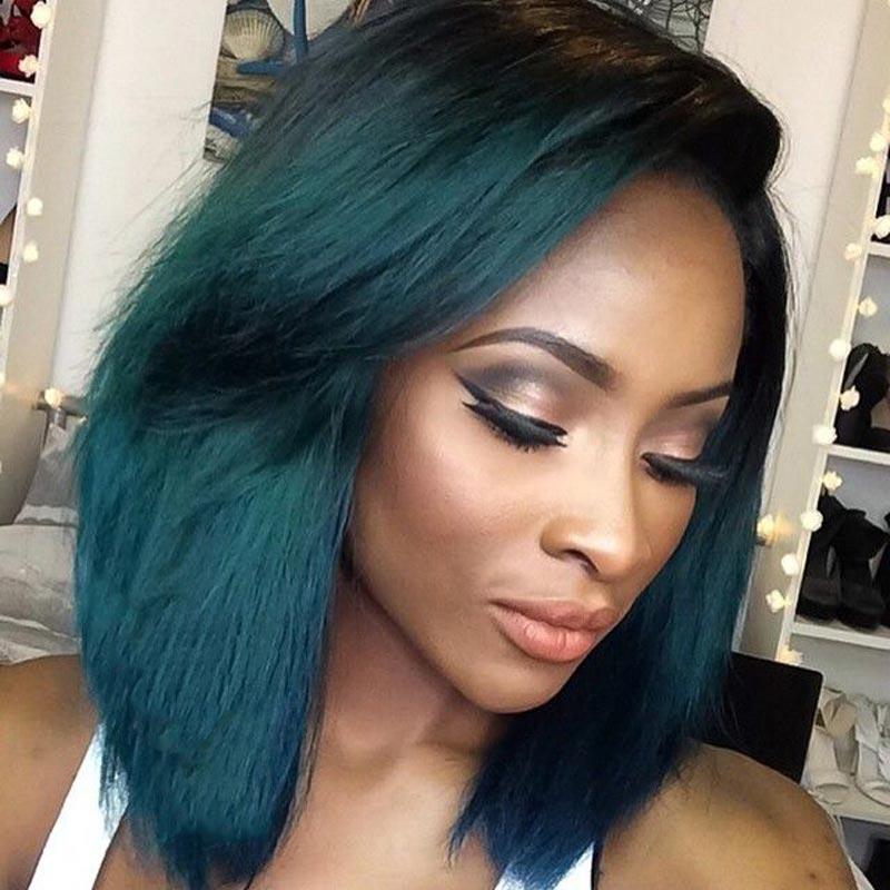 short bob ombre green wig black