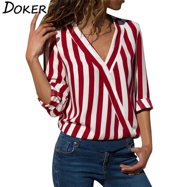 Women Striped Blouse V-neck Long Sleeve Blouses Shirts Casual Tops Work Wear Chiffon Shirt Plus Size Blusas Mujer De Moda 2020