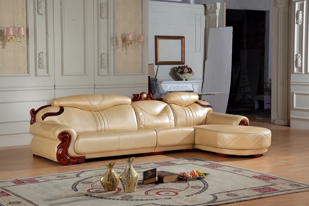 European Leather Sofa Set Living Room Sofa China L Shape Corner Sofa Wooden  Frame(China