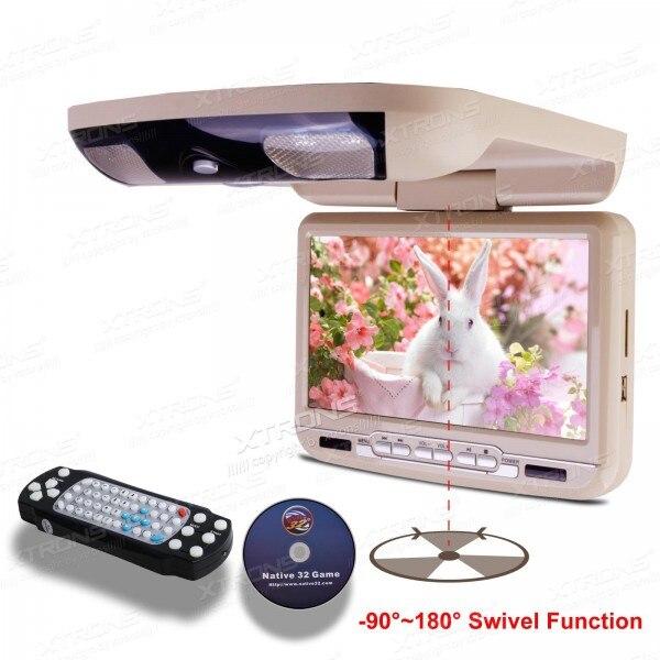 XTRONS крем 9 Автомобиль на крыше DVD плеер Потолок DVD откидной монитор накладные USB игры гарнитура встроенный ИК и fm передатчик