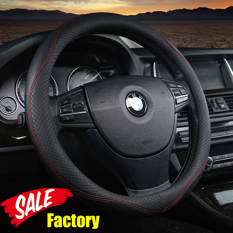 DERMAY 2017 Embossed Leather Steering Wheel Cover For Steering-Wheel Out Diam 14-15 95% Car-styling High Quality & Factory Sale dermay high quality car genuine leather steering wheel cover massage m size for lada ford nissan vw skoda chevrolet etc 98% car