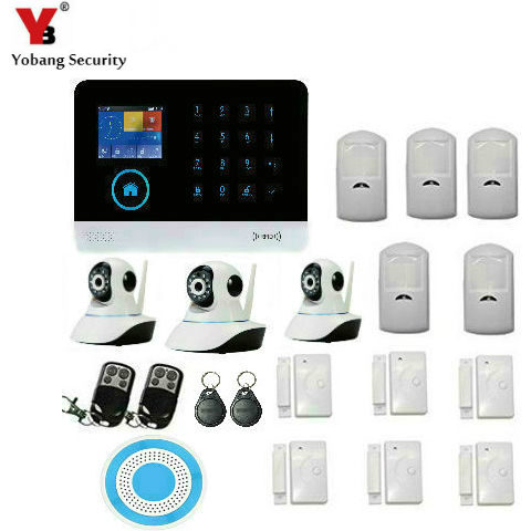 YobangSecurity Wireless Wifi GSM Home Security Camera System with Motion Detection, HD Video IP Camera Wireless Strobe Siren yobangsecurity touch keypad wireless wifi gsm home security burglar alarm system wireless siren wifi ip camera smoke detector