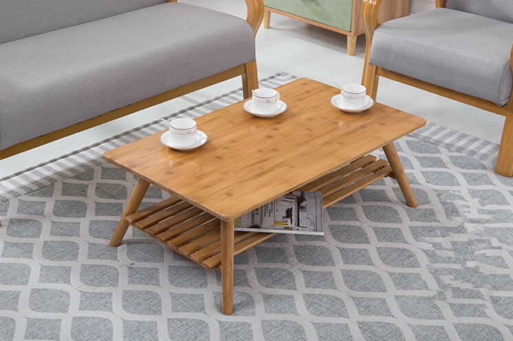 Contemporary Bamboo Table Legs Foldable Natural Finish Furniture Small Living Room Folding Center Sofa Coffee