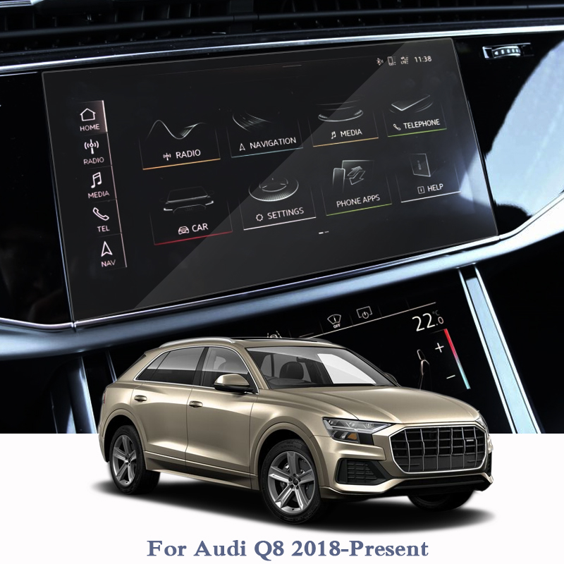 Car Styling For Audi Q8 2018-Present GPS Navigation Screen Glass Climate Control Film Dashboard Display Film Accessories