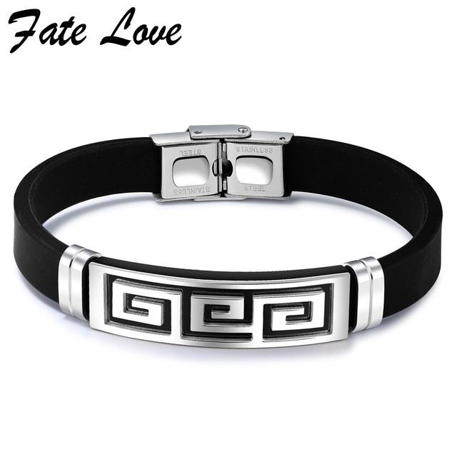 10Pcs/Lot Fashion Silicone Bracelet Men Jewelry Stainless Steel Great Wall Design Mens Jewellery Pulseras Hombre Man Bracelets
