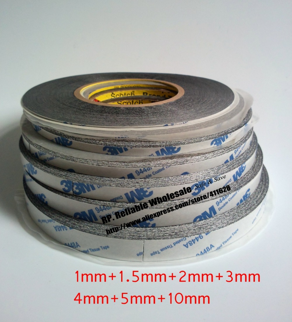 7 Wides Black Double Sided Adhesive Tape for Cellphone Pad Screen Bond, (Wide 1mm+1.5mm+2mm+3mm+4mm+5mm+10mm)