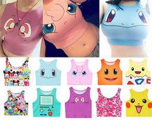 2017 Summer Harajuku Sexy Girls Cosplay Costume Pokemon Go Pocket Monster Sailor Moon Crystal Crop Tops Vest Tank Tops Shirt