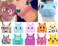 Harajuku Sexy Girls Cosplay Costume Pokemon Go Pocket Monster Sailor Moon Crystal Crop Tops Vest Tank Tops Shirt