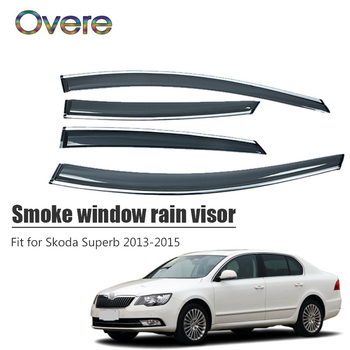 Overe 4Pcs/1Set Smoke Window Rain Visor For Skoda Superb 2013 2014 2015 Styling ABS Awnings Shelters Guard Car Accessories