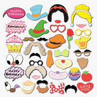 38 Pcs Set Wedding Photo Booth Props DIY Party Birthday Photo Prop Set Mask On A