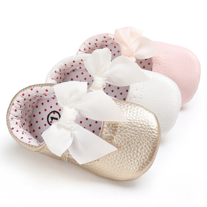 2019 Newborn Baby Moccasin Rubber Bottom Baby Shoes Soft Soles PU Leather Toddler Infant Baby Girl Bow First Walkers