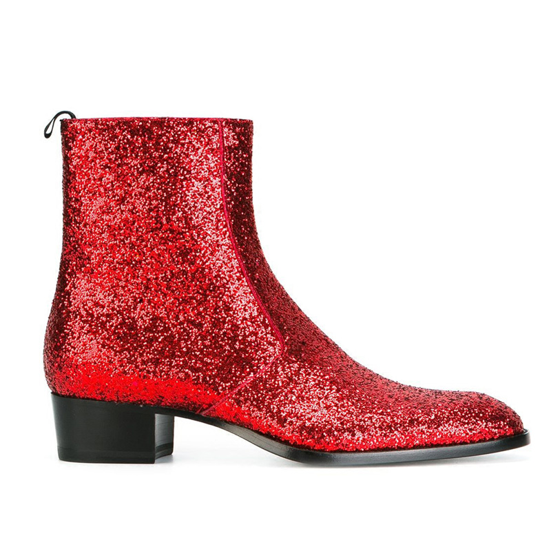 pointed toe men leather boots British style glitter men fashion boots zip mujer bota sequin red booties Autumn Military Boots fr lancelot 2018 new arrival star boots men real leather boots glitter sequin leather booties zip up men party shoes