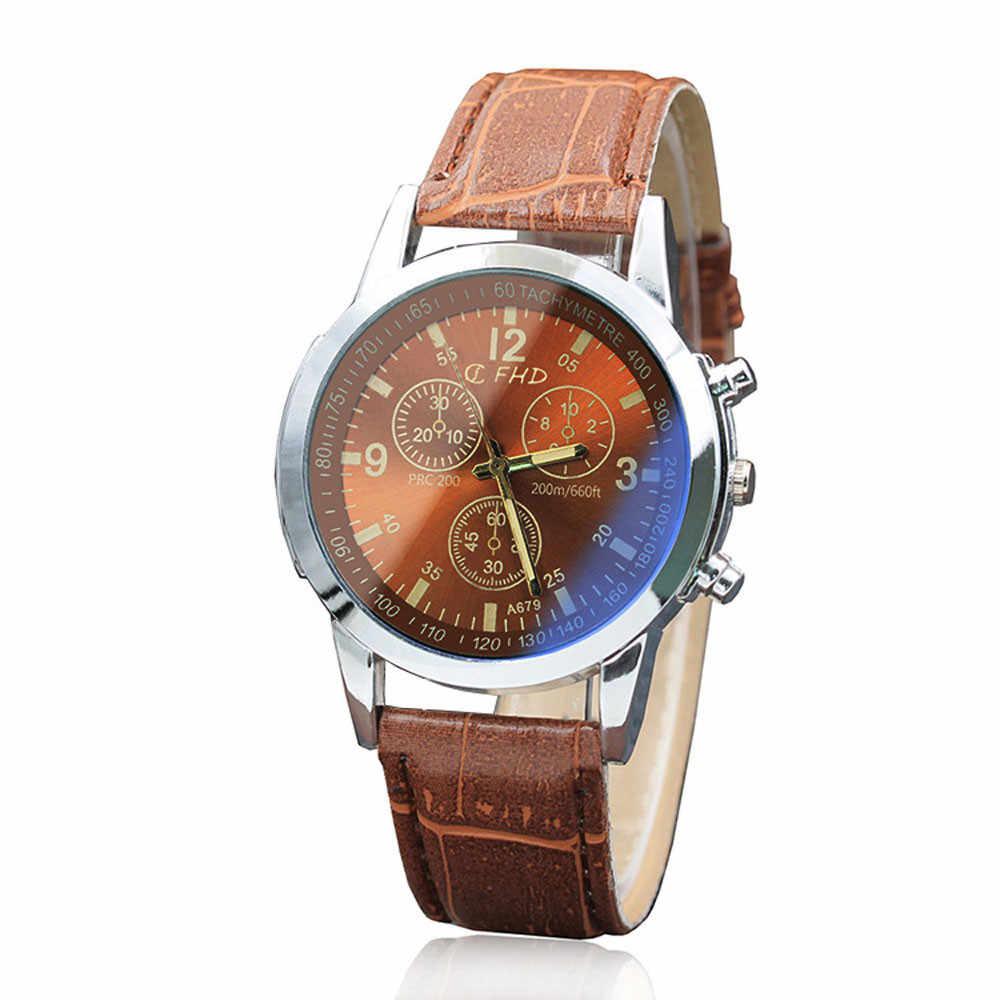 2018 Reloj אופנה גדול חיוג צבאי קוורץ גברים שעון עור ספורט שעונים קלאסי שעון שעוני יד Relogio Masculino