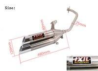 Haute qualité Moto modifiée tuyau d'échappement IXIL double-port double-tube double buse Moto rapide Aigle 125