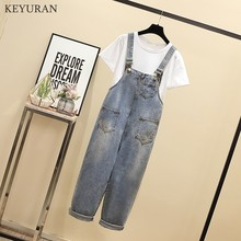 Plus Size 4XL Women Jeans Jumpsuits  Rompers Suit 2020 New Summer White T Shirt and Overalls Casual Denim Two Piece Set L3582