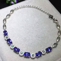 natural blue tanzanite stone Bracelet Natural gemstone bracelet 925 sterling silver fashion Elegant round women party jewelry