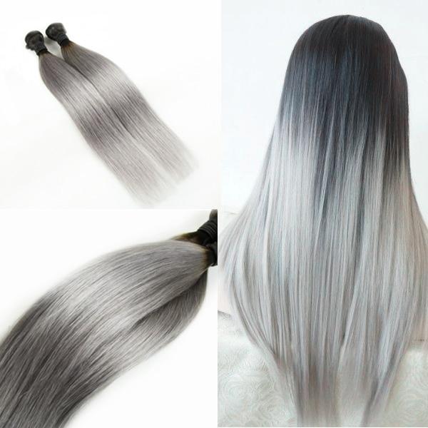 3pcs Lot 300g Ombre Silver Grey Virgin Human Hair Extensions