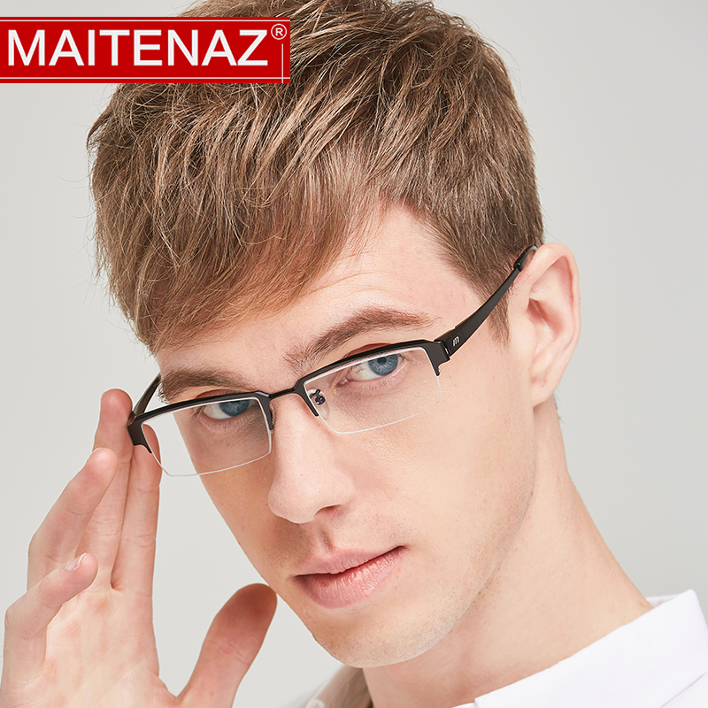 MAITENAZ Pure Titanium Prescription Eyeglasses Business Myopia Hyperopia Glasses for Men Women Fashion Full Frame 119(China)