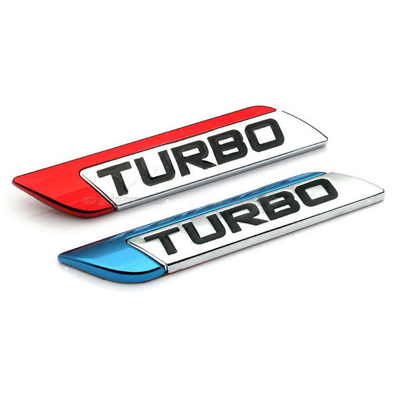 3D TURBO Lettering Logo Glossy Emblem Badge 1Pcs 3 Colors for All Vehicle