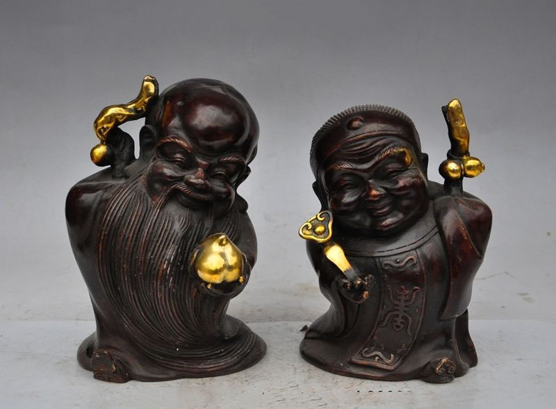 christmas Mark China Bronze gilt Long Life Longevity Shouxing God Wife Star Pair Statue halloweenchristmas Mark China Bronze gilt Long Life Longevity Shouxing God Wife Star Pair Statue halloween