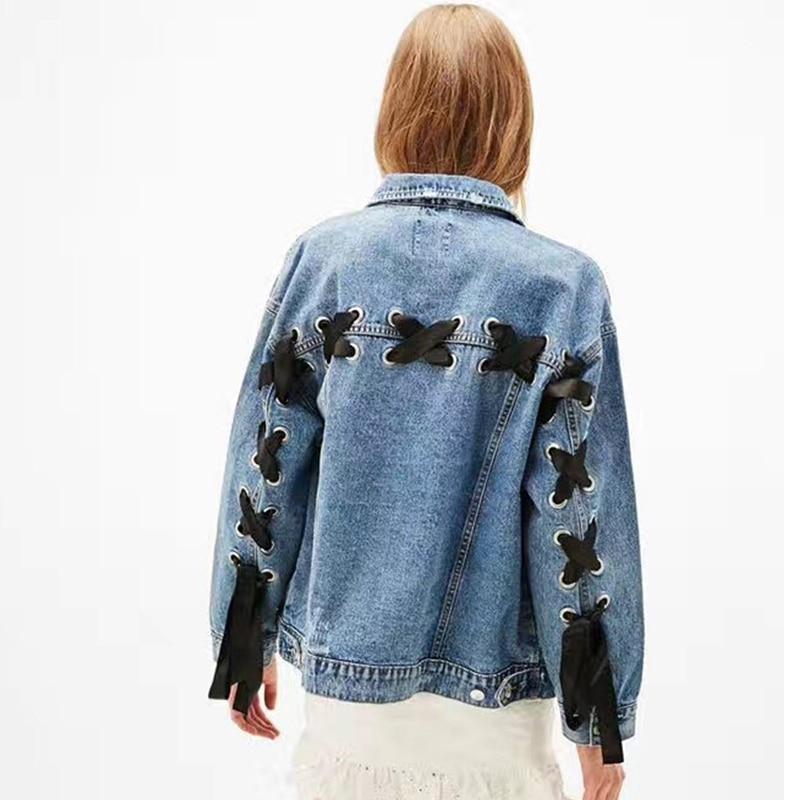 2019 Spring new denim   Basic     jackets   women loose Design long sleeve jean   jacket   Coats Plus Size Boyfriend Outerwear Z261