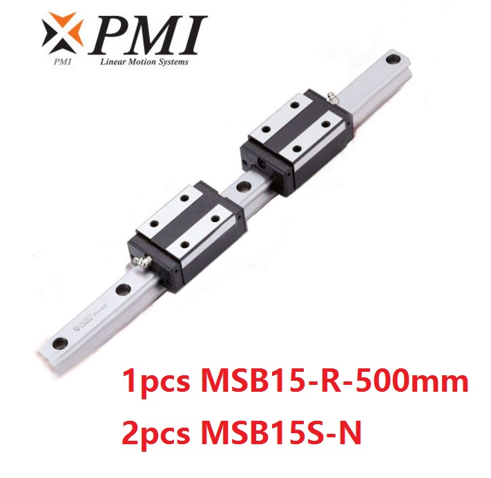 1pcs Taiwan PMI MSB15-R 500mm linear guide rail and 2pcs MSB15S-N Block Carriages for CO2 laser machine CNC router MSB15SSSFCN1pcs Taiwan PMI MSB15-R 500mm linear guide rail and 2pcs MSB15S-N Block Carriages for CO2 laser machine CNC router MSB15SSSFCN