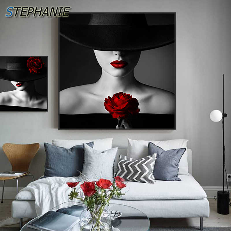 Red Lipstick Beauty Salon Print CANVAS WALL ART Square Picture Black