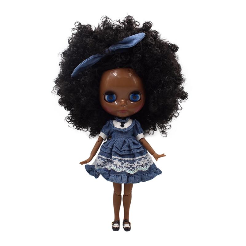 fortune days factory blyth doll super black skin tone darkest skin black hair joint body 1