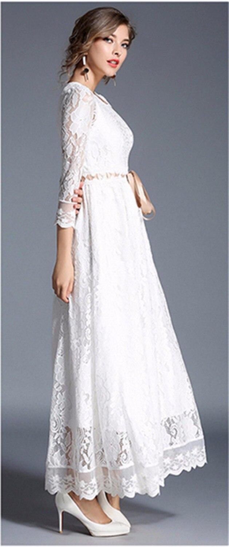 0bdb7952d7 Huan Qing Sexy koronki szydełka Hollow Out tunika biała długa sukienka  jesień kobiet