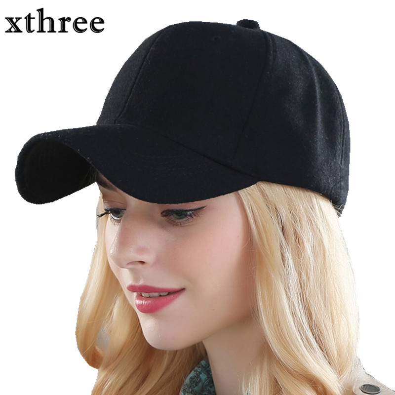 3158bd3e93834 Xthree solid men s wool baseball cap winter cap warm bone snapback hat  gorras fitted hats for women-in Baseball Caps from Apparel Accessories on  ...