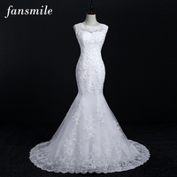 Fansmile New Arrival Lace Mermaid Wedding Dresses 2017 Plus Size Bridal Alibaba Wedding Dress Real Photo