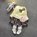 ¡ Caliente! 2016 de primavera de encaje 100% tela de algodón recién nacido bebé chica hermosa candy girl Princess Party bow dress 0-3 T envío gratis