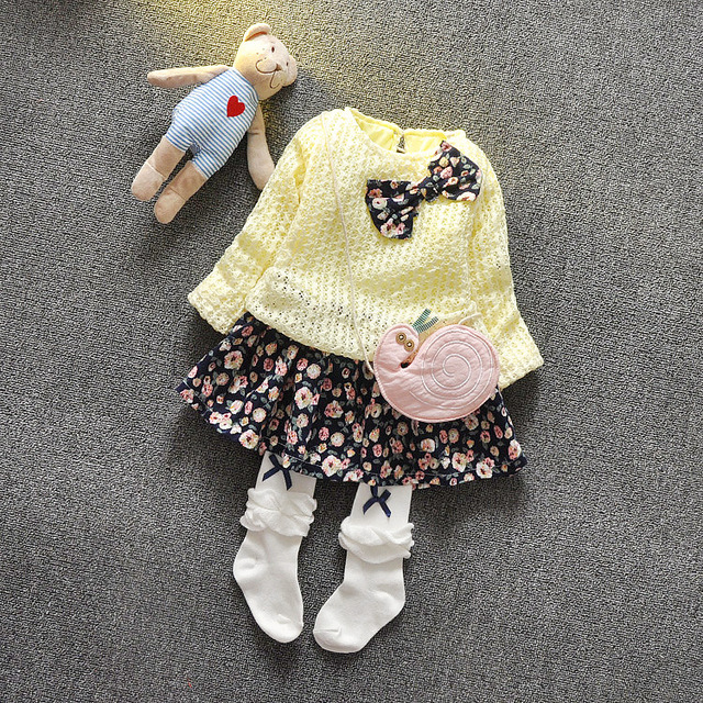 Hot ! 2016 spring lace 100% cotton material newborn baby girl beautiful girl candy Princess Party bow dress 0-3T Free shipping