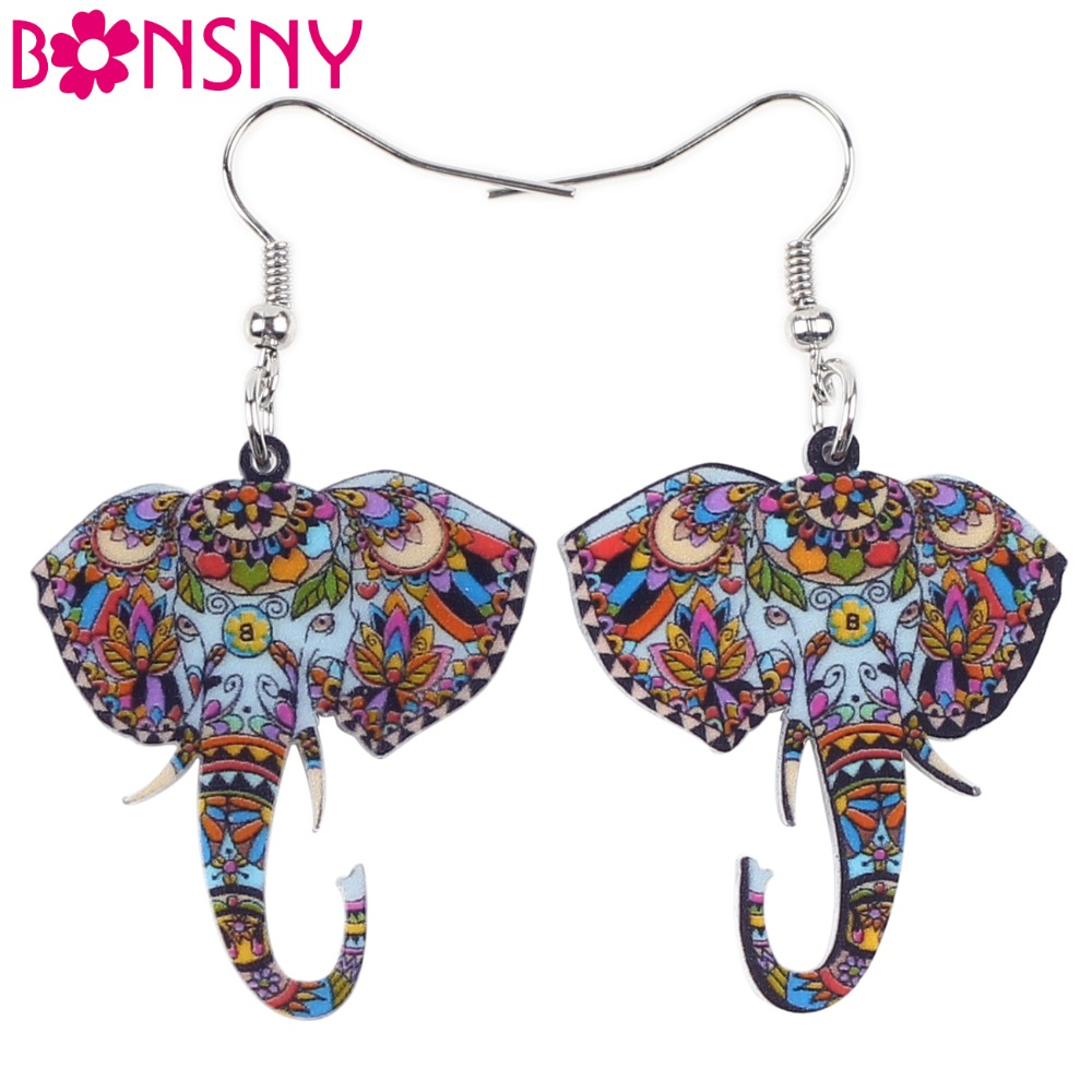 Bonsny Cute Big Long Animal Acrylic Dangle Drop Elephant Earrings 2016 <font><b>News</b></font> Style Dangle Fashion Jewelry For Girls Women image