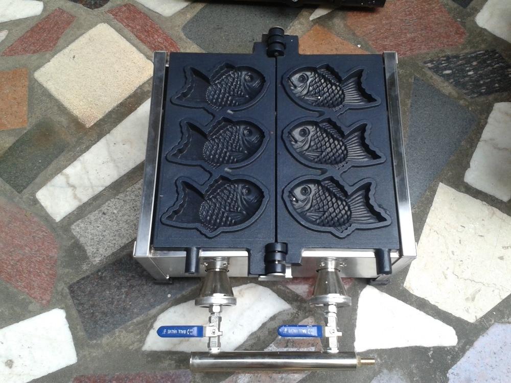 Free shipping ~ 3 pcs gas type fish cake grill/ fish cake waffle machine/ taiyaki maker free shipping gas type 3 pcs fish taiyaki maker machine with recipe fish waffle baker