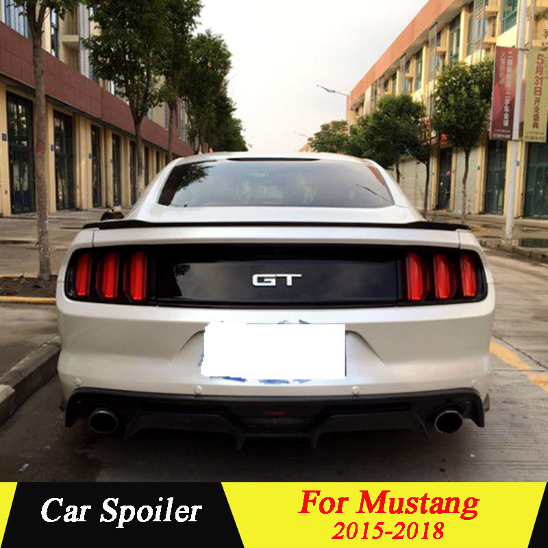Spoiler For Ford <font><b>Mustang</b></font> <font><b>2015</b></font> 2016 2017 2018 high quality ABS car tail <font><b>wing</b></font> decoration spoiler for ford <font><b>mustang</b></font> image