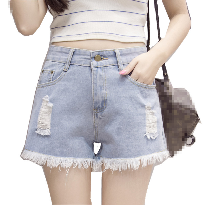 Humble B2916 2019 New Summer Women Fashion Wide Legs High Waist Korean Version Slim Students Holes Hot Denim Shorts Cheap Wholesale High Quality Materials Women's Clothing
