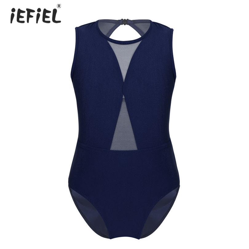 iEFiEL Kids Girls Shiny Metallic One-Piece Leotard Bodysuit Unitard Ballet Dance Gymnastics Activewear