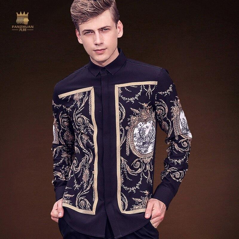 Fanzhuan จัดส่งฟรีใหม่ชายแฟชั่นผู้ชายลำลอง 2017 เสื้อฤดูใบไม้ร่วงฤดูหนาวเสื้อ original design พิมพ์เสื้อ 713208 palace-ใน เสื้อเชิ้ตลำลอง จาก เสื้อผ้าผู้ชาย บน AliExpress - 11.11_สิบเอ็ด สิบเอ็ดวันคนโสด 1