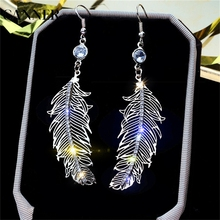 CANNER Fashion Stainless Steel Stud Earring Feather Earrings With Zircon Silver Color Micro Anti Allergy Leaf Women R4