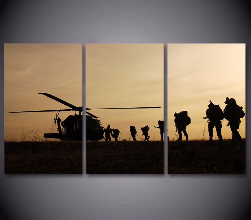 3 Piece HD Printed Helicopter Army Sun Paint Wall Art Canvas Posters ...